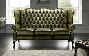 Chesterfield Highback Leather Sofa 3 Seater Antique Olive