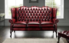 Chesterfield Highback Leather Sofa 3 Seater Antique Oxblood Red