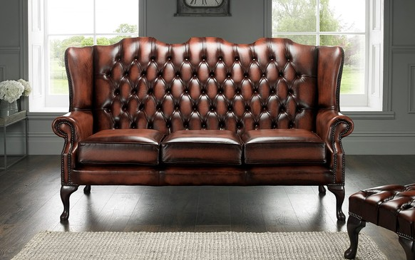 Chesterfield Highback Leather Sofa 3 Seater Antique Rust