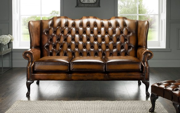 Chesterfield Highback Leather Sofa 3 Seater Antique Tan