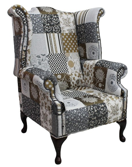 Chesterfield Patchwork Jubilee 1780's Queen Anne Wing Chair