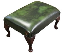Chesterfield 1930's Queen Anne Footstool UK Maufactured Antique Green Leather