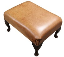 Chesterfield 1930's Queen Anne Footstool UK Maufactured Old English Saddle