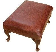 Chesterfield 1930's Queen Anne Footstool UK Maufactured Old English Chestnut