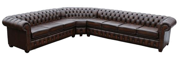 Chesterfield Corner Sofa Unit 4 corner 3 Antique Brown Leather Cushioned (with arm)