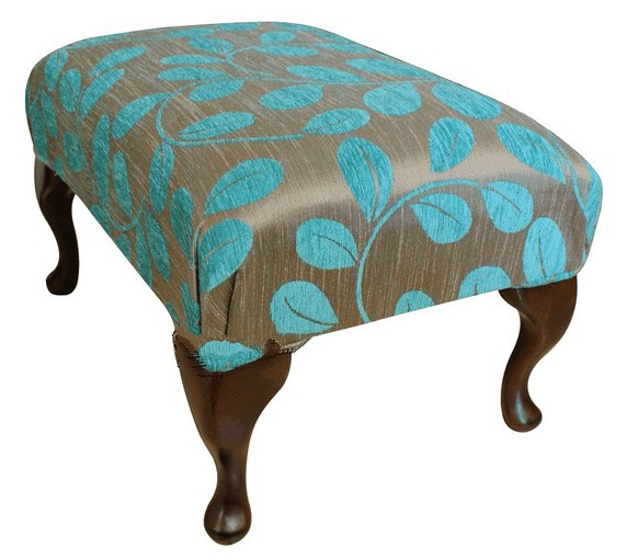 Queen Anne Fabric Footstool UK Manufactured Orchard Leaf Turquoise