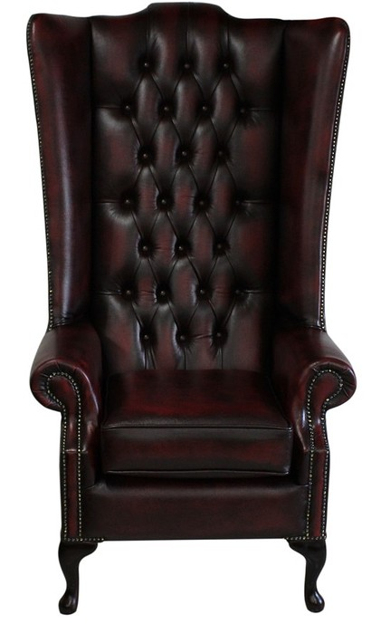 Chesterfield Soho Flat Wing Chair Antique Oxblood Leather