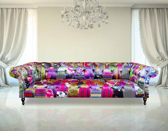 Chesterfield Patchwork 4 Seater Fabric Sofa Settee