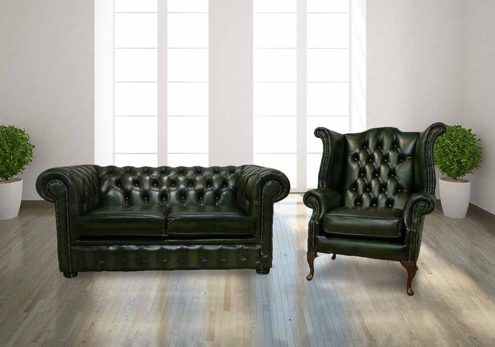 Chesterfield 2 Seater Sofa Settee Queen Anne Wing Armchair Antique Green Leather Offer