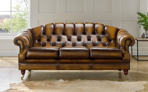 Chesterfield Victoria Leather Sofa 3 Seater Antique Gold