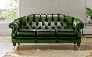 Chesterfield Victoria Leather Sofa 3 Seater Antique Green