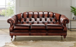 Chesterfield Victoria Leather Sofa 3 Seater Antique Light Rust
