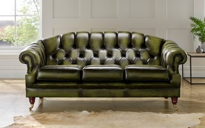 Chesterfield Victoria Leather Sofa 3 Seater Antique Olive