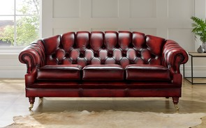 Chesterfield Victoria Leather Sofa 3 Seater Antique Oxblood