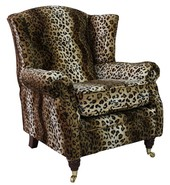 Wing Chair Fireside High Back Armchair Brown Leopard