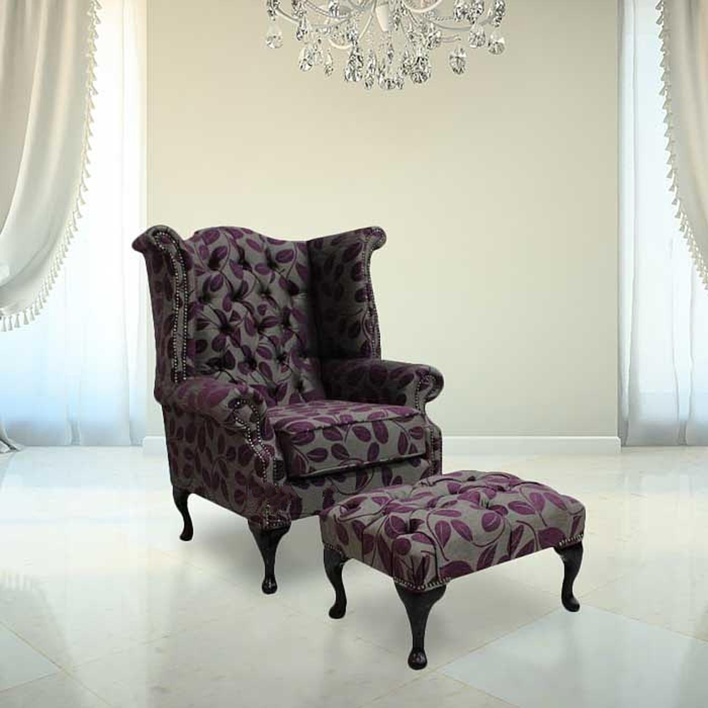 Chesterfield Fabric Queen Anne High Back Wing Chair + Footstool Orchard  Leaf Aubergine