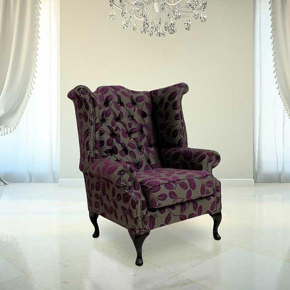 Chesterfield Fabric Queen Anne High Back Wing Chair Orchard Leaf Aubergine