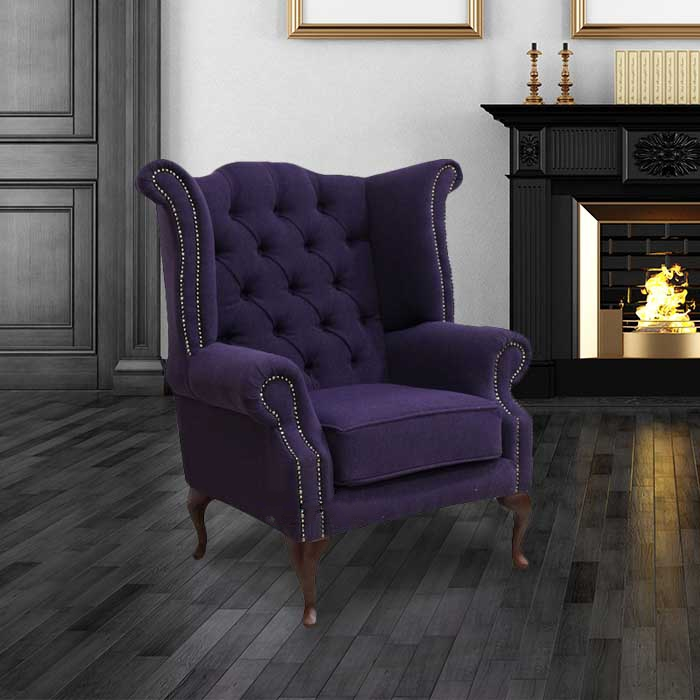 Chesterfield Purple Queen Anne High Back Wing Chair Verity