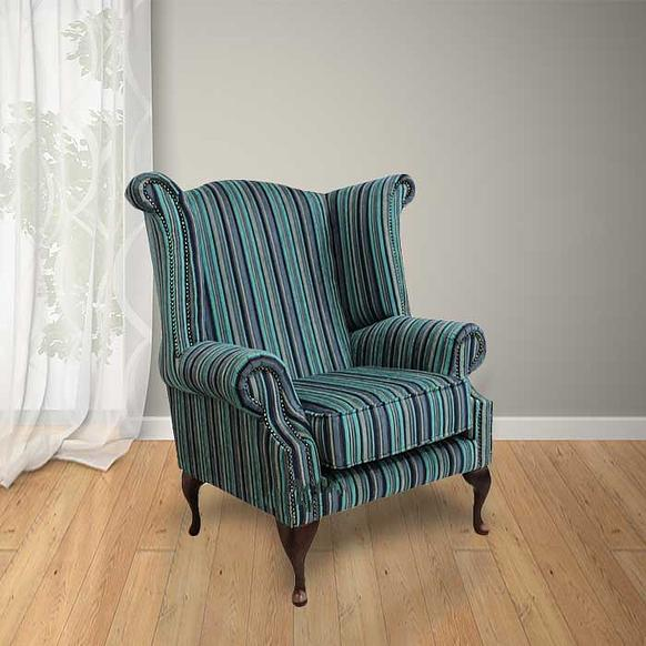 Chesterfield Saxon Queen Anne High Back Wing Chair Argent Stripe Turquoise
