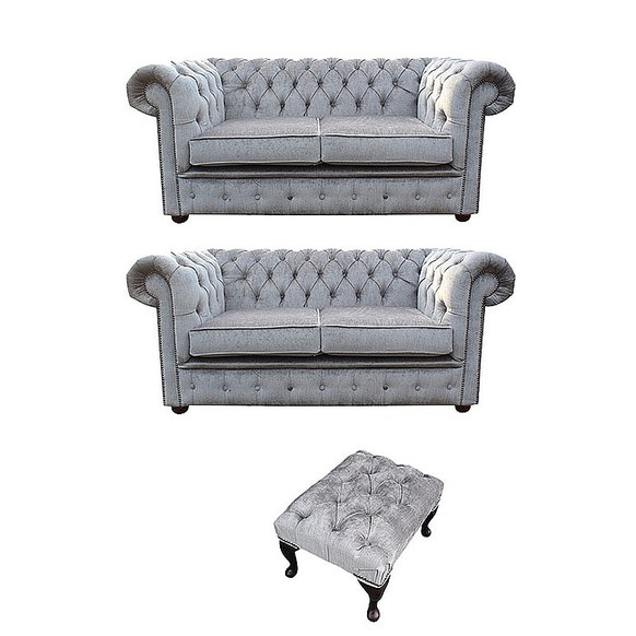 Chesterfield 2 Seater + 2 Seater+Footstool Settee Perla Illusions Velvet Sofa Suite Offer