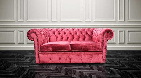 Chesterfield 2 Seater Settee Modena Pillarbox Red Velvet Sofa Offer