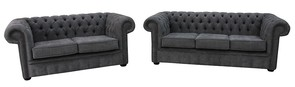 Chesterfield 3 + 2 Seater Settee Marinello Pewter Fabric Sofa Offer