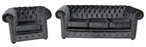 Chesterfield 3 Seater Settee + Club Chair Boutique Storm Velvet Sofa Suite Offer