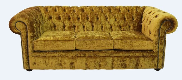 Chesterfield 3 Seater Settee Modena Gold Velvet Sofa Offer