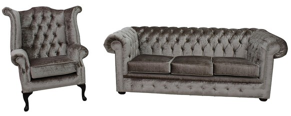 Chesterfield 3 Seater Settee + Queen Anne Wing Chair Boutique Beige Velvet Sofa Suite Offer