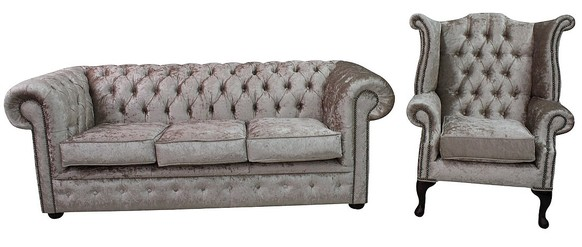 Chesterfield 3 Seater Settee + Queen Anne Wing Chair Shimmer Mink Velvet Sofa Suite Offer