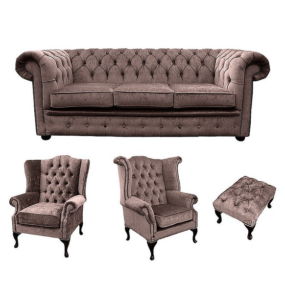 Chesterfield 3 Seater Sofa + 1 x Mallory Wing Chair + 1 x Queen Anne Wing Chair + Footstool Harmony Charcoal Velvet Sofa Suite Offer