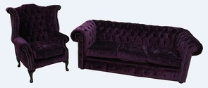 Chesterfield 3 Seater Sofa + Queen Anne Chair Modena Aubergine Velvet Suite Offer