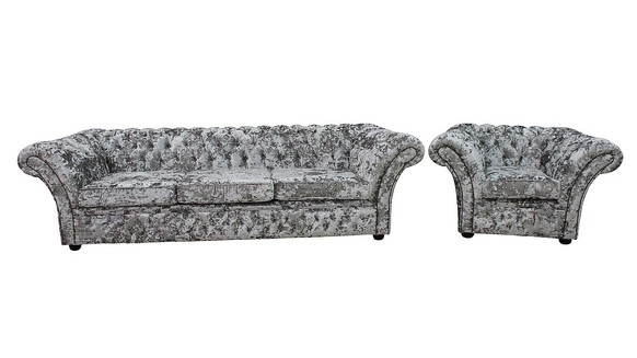 Chesterfield Balmoral 4 + Club Armchair Sofa Settee Suite Lustro Argent Velvet Fabric