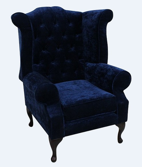 Chesterfield Edward Queen Anne Wing Chair Fireside High Back Armchair Modena Deft Blue Velvet