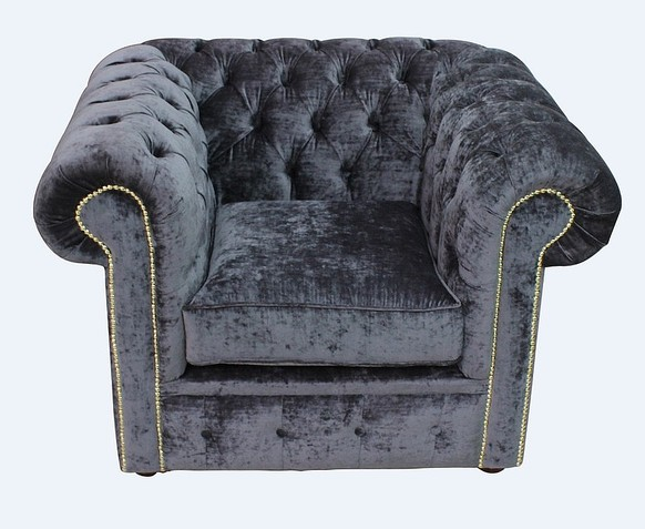 Chesterfield Low Back Club Armchair Pastiche Steel Velvet Fabric