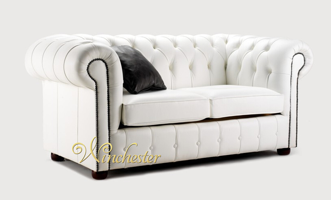 Chesterfield Leather Sofabed Uk Manufactured 2 Seater White Wc