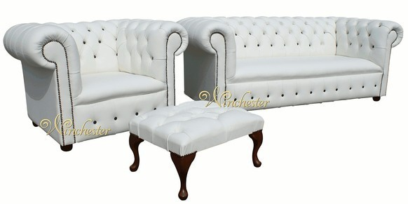 Chesterfield Leather Sofa Buttoned Seat 3 Seater + Club Chair + Footstool White Black Buttons