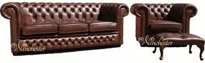 Chesterfield Leather Sofa 3+Club+Footstool Antique Tan