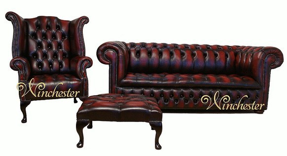 Chesterfield Leather Sofa Buttoned Seat 3+1+Footstool