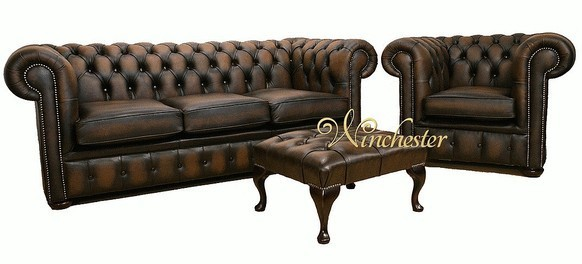 Chesterfield Leather Sofa 3+Club+Footstool
