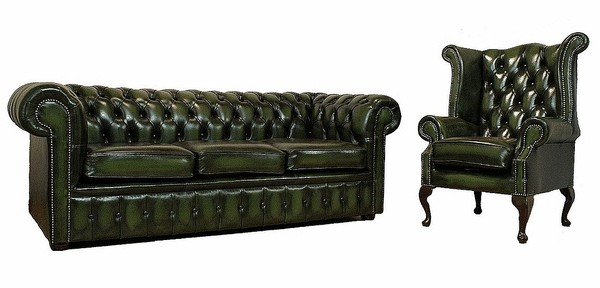 london 3 seater queen anne wing chair sofa suite antique green leather sofas traditional sofas