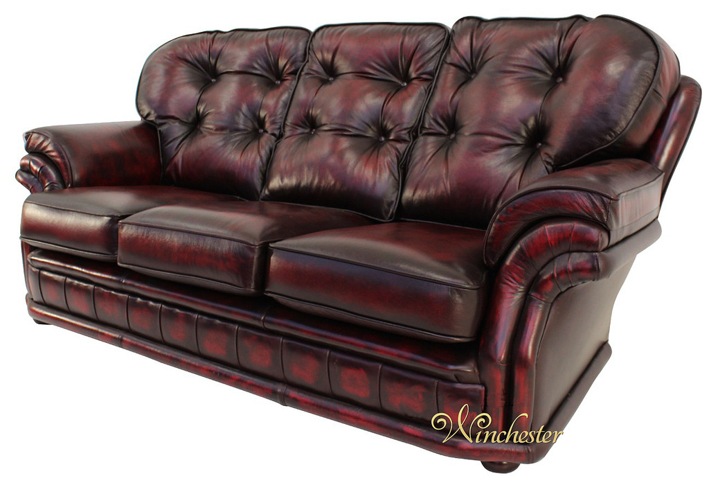 Oxblood Red 3 Seater Chesterfield Sofa Home